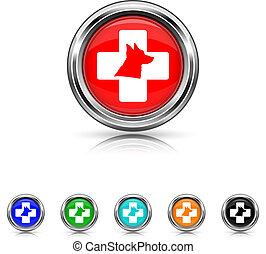 Veterinary icon - six colours set