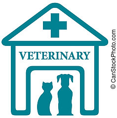 veterinary icon with home and pets