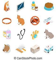 Veterinary icons set, isometric 3d style