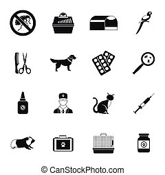 Veterinary icons set, simple style