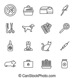 Veterinary icons set, thin line style