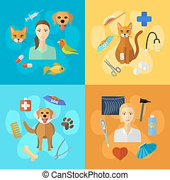 Veterinary icons set.