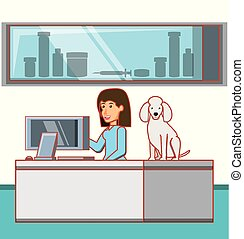 veterinary in attention office with dog