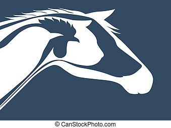 Veterinary logo over blue - Horse, cat, dog, rooster, bird...