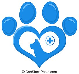 Veterinary Love Paw With Dog Silhouette And Cross Print Logo Flat Design.