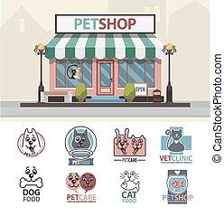 Veterinary medicine hospital, clinic or pet shop for animals.