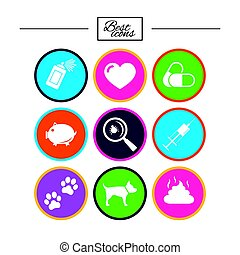 Veterinary, pets icons. Dog paws, syringe signs.