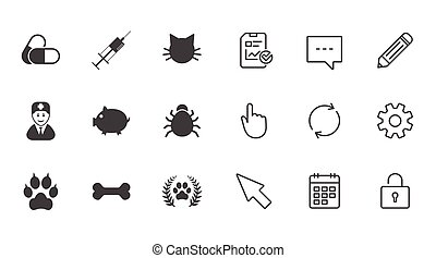 Veterinary, pets icons. Paw, syringe and bone. - Veterinary,...