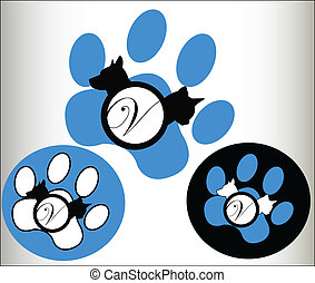 Veterinary pets Logo - Veterinary pets cat dog paws Logo