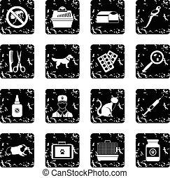 Veterinary set icons, grunge style