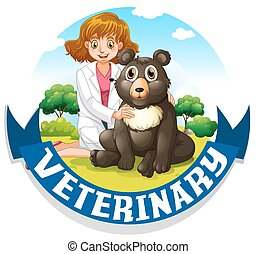 Veterinary sign with vet and bear