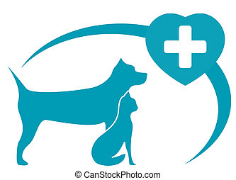 veterinary symbol with dog, cat - blue veterinary symbol...
