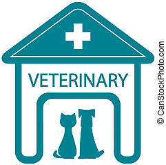 veterinary symbol with home clinic silhouette and pet - cat...