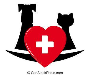 veterinary symbol with pets, heart