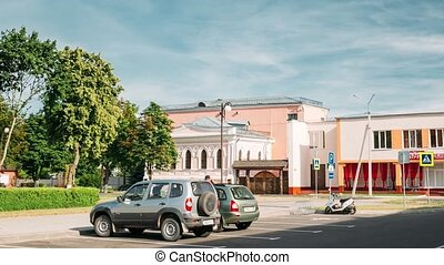 Vetka, Belarus. Vetka Museum Of Old Belief And Belarusian Traditions. Former Mansion Of Merchant Groshikov. Hyperlapse, Time-lapse.