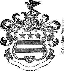 vetorial, águia, crista, e, bandeira