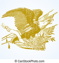 vetorial, águia, setas, e, bandeiras