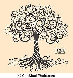 vetorial, árvore, abstratos