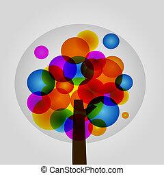 vetorial, árvore, coloridos