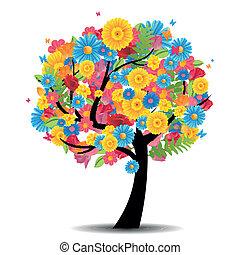 vetorial, árvore, com, flores