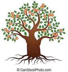 vetorial, árvore, com, raizes, e, flores