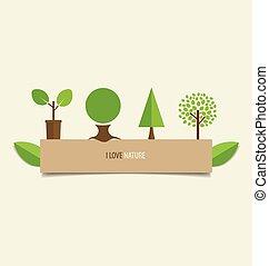 vetorial, árvore., desenho, illustration., cobrança