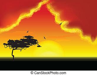 vetorial, árvore, horizon., paisagem