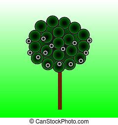vetorial, árvore, ilustração