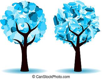 vetorial, árvore inverno