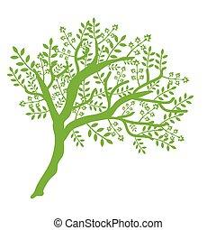 vetorial, árvore, isolado