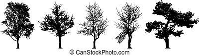 vetorial, árvore, jogo, silueta