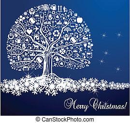 vetorial, árvore, neve, fundo