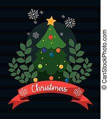 vetorial, árvore, pinho, desenho, natal, feliz