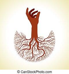 vetorial, árvore, raizes, mão