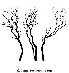 vetorial, árvore, silhouette.