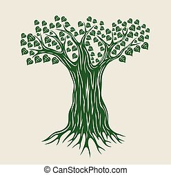 vetorial, árvore, silueta