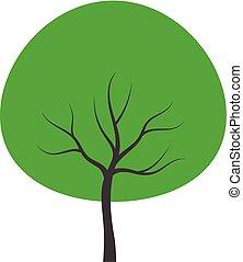 vetorial, árvore., verde