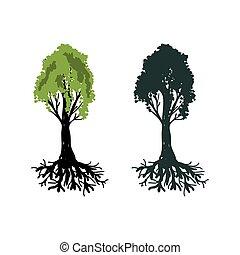 vetorial, árvores, ilustração