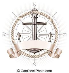 vetorial, âncora, emblema
