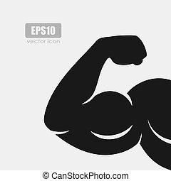 vetorial, ícone, bíceps, silueta