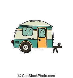 vetorial, ícone, de, acampamento, reboque, em, doodle, style., estrada, trip., casa rodante, ligado, wheels., turismo, e, viagem, tema