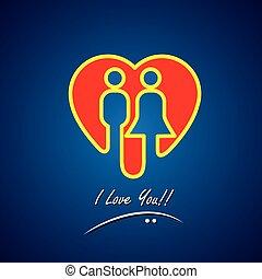 vetorial, ícone, de, amor, símbolo, de, coração, com, dia dos namorados, menino, &, gi