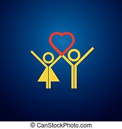 vetorial, ícone, de, menino, &, menina, par, fazendo amor, ligado, valentines, day.
