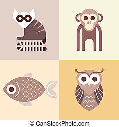 vetorial, ícones animais