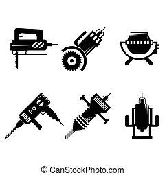 vetorial, ícones, cobrança, equipamento, construção, pretas