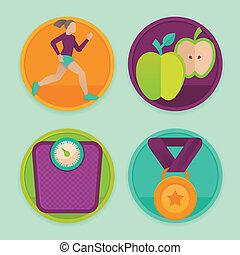 vetorial, ícones, condicão física, jogo