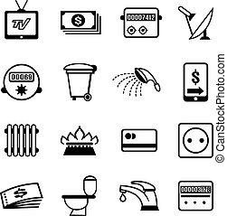 vetorial, ícones, contas