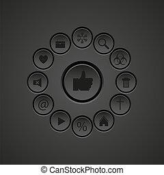 vetorial, ícones correia fotorreceptora, jogo, element., eps10