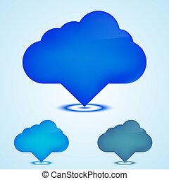 vetorial, ícones correia fotorreceptora, nuvens, set., eps10