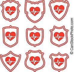 vetorial, ícones, de, proteja, seu, coração, símbolos